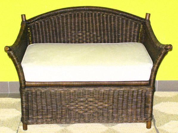 Ratanová lavice s úložným prostorem-tmavá