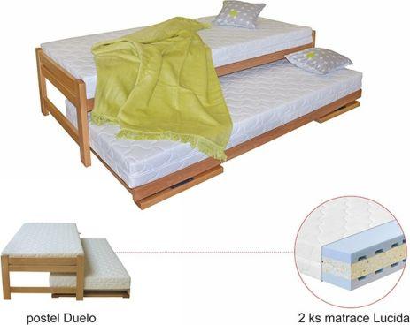 Rozkládací lůžko Duelo, rošt, matrace Lucida