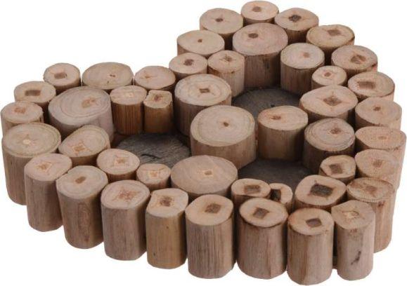 Svícen Srdce na čajové svíčky, dřevo