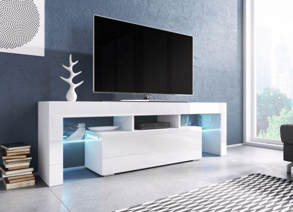 Televizní stolek Toro bílá-bílý lesk, modré osvětlení