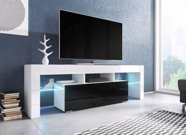 Televizní stolek Toro bílá-černý lesk, bez osvětlení