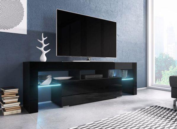 Televizní stolek Toro černá-černý lesk, modré osvětlení