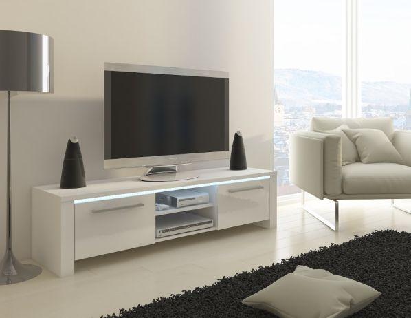 TV stolek Helix s LED 01, bílá / bílý lesk