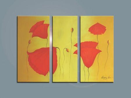 Vícedíln obrazy - Červené květy