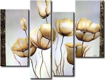 Vícedílné obrazy - Bílé tulipány