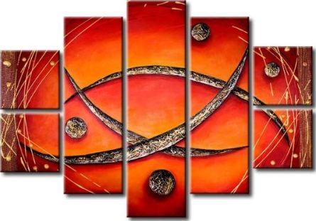 Vícedílné obrazy - Červená abstrakce