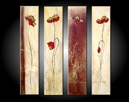 Vícedílné obrazy - Červené květy