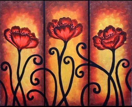 Vícedílné obrazy - Malované růže