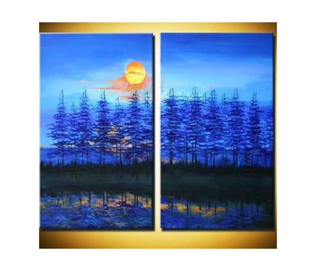 Vícedílné obrazy - Měsíc nad lesem