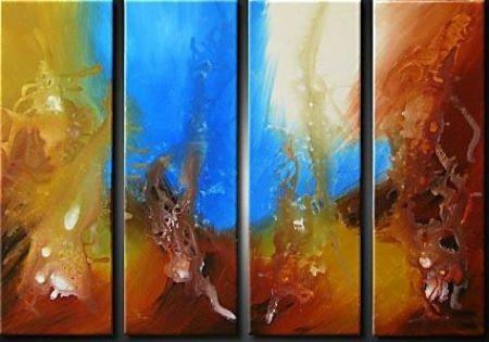 Vícedílné obrazy - Modrá abstrakce