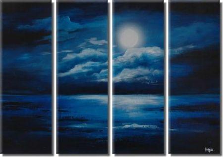 Vícedílné obrazy - Nad mořem v noci