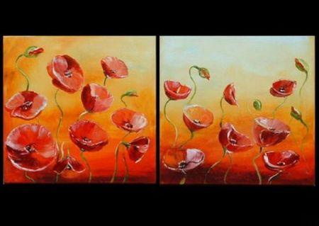 Vícedílné obrazy - Rozkvetlé květy