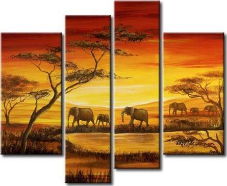 Vícedílné obrazy - Stádo slonů