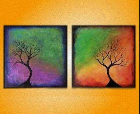 Vícedílné obrazy - Stromy v duze