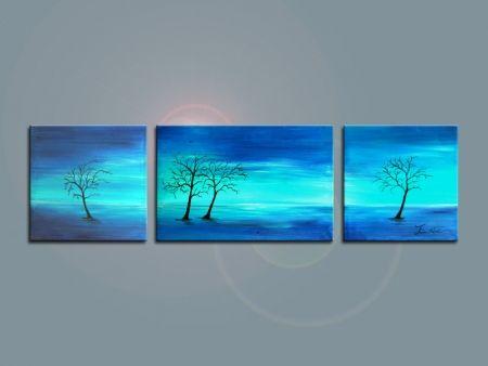 Vícedílné obrazy - Stromy v modrém