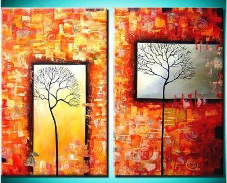 Vícedílné obrazy - Stromy v okně