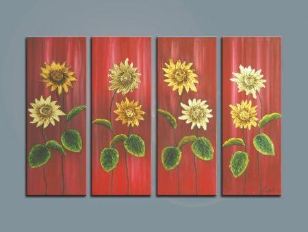 Vícedílné obrazy - Zlaté slunečnice