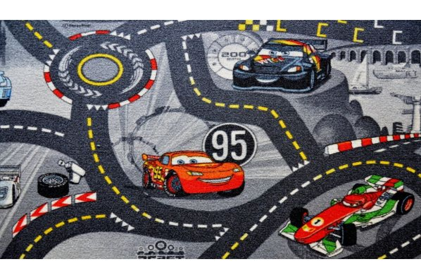 Metrážový koberec World of cars šedý