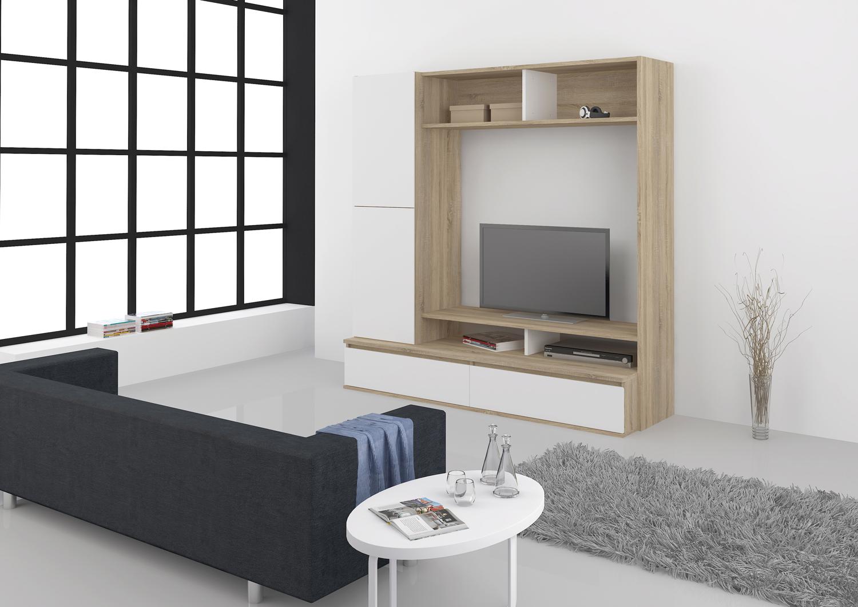 Obývací stěna umístěná na delší stěně